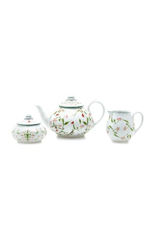 Porcelain Teapot, Sugar And Cream Cabaret Set