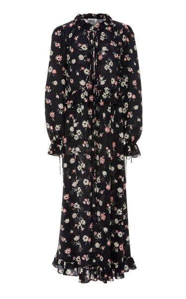 Tie-Neck Floral-Print Silk-Chiffon Midi Dress