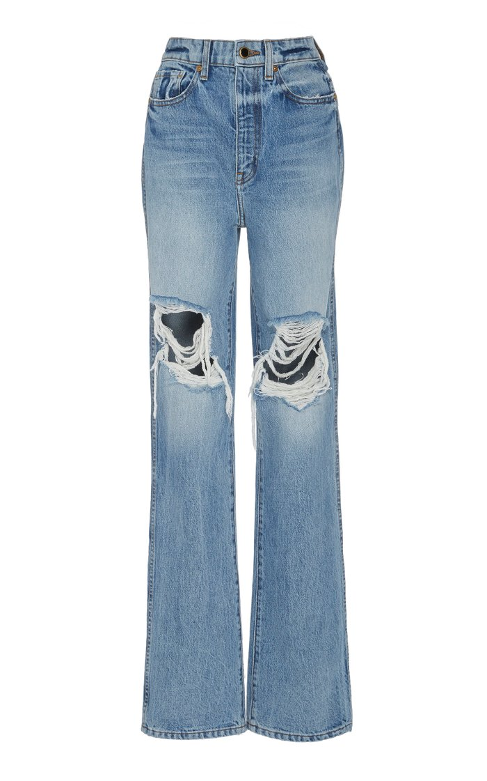 Danielle Distressed High-Rise Straight-Leg Jeans