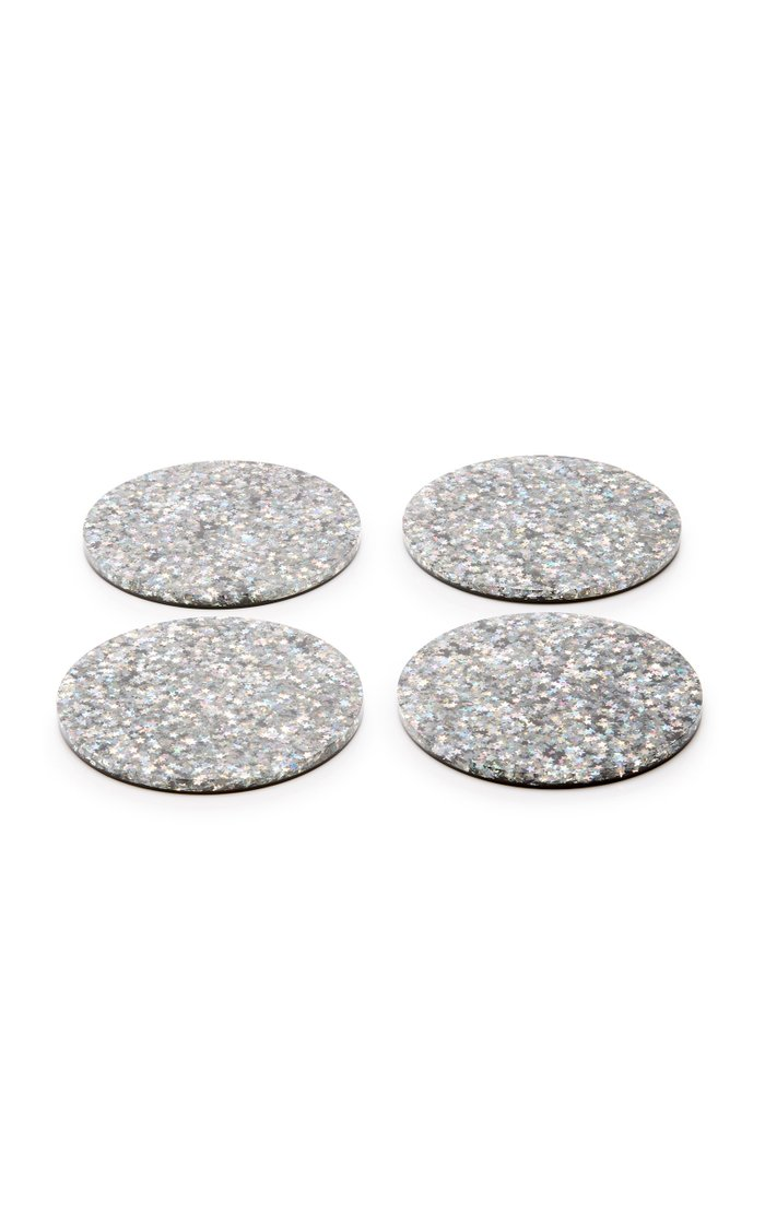 Set-of-Four Silver Brilliant Stars Round Coasters