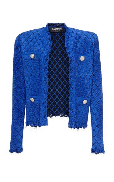 Diamond-Printed Raw Hem Velvet Jacket