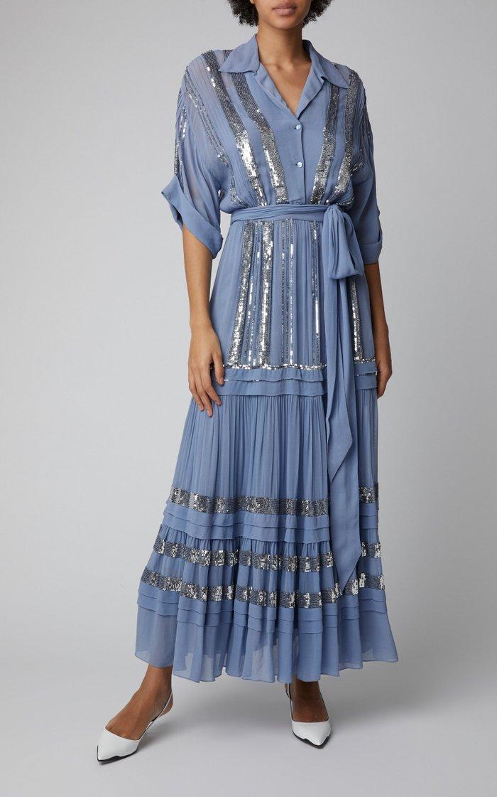 Sable Sequin-Embellished Chiffon Midi Dress