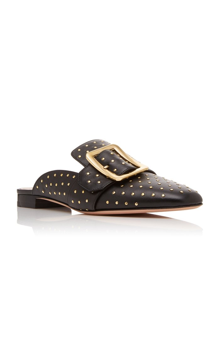 Janesse Stud-Embellished Leather Mules