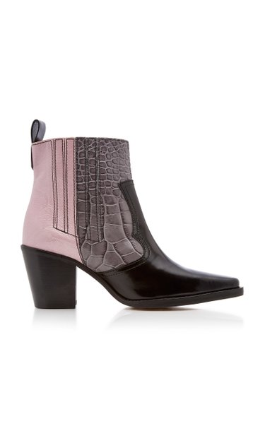 Croc-Effect Patent Leather Boots