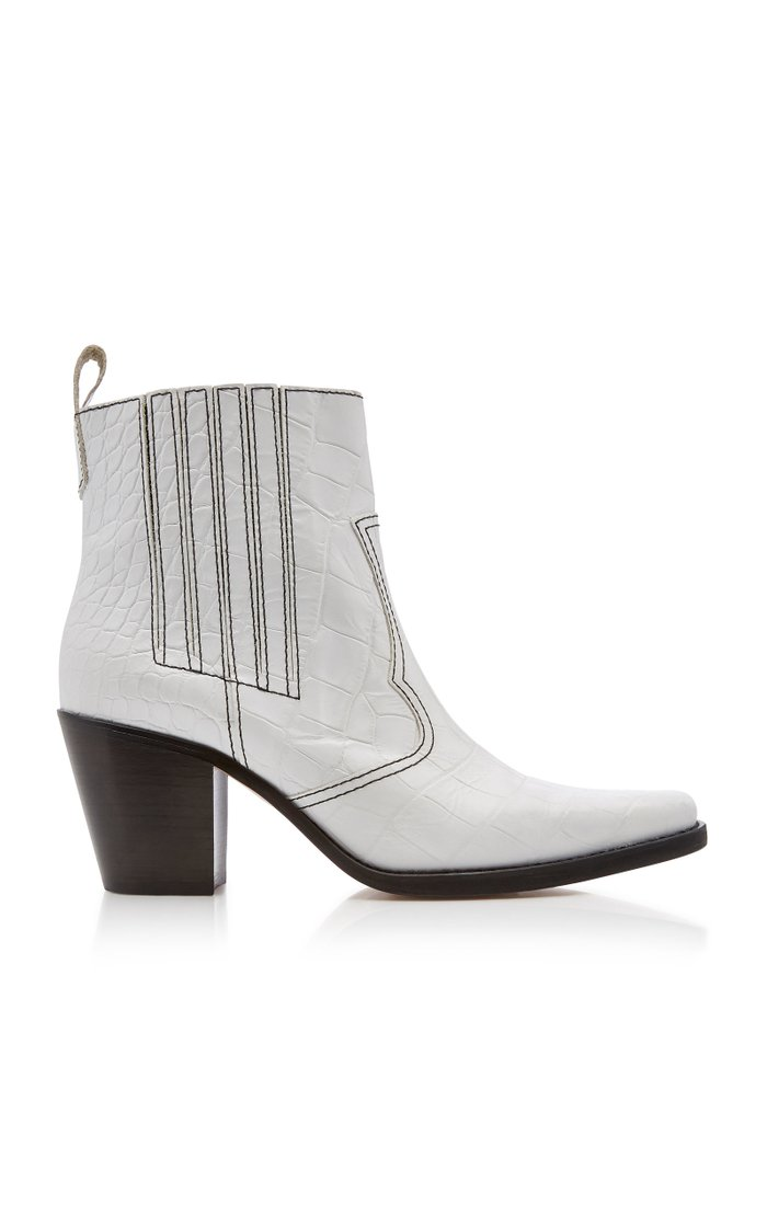 Top-Stitched Croc-Effect Leather Boots
