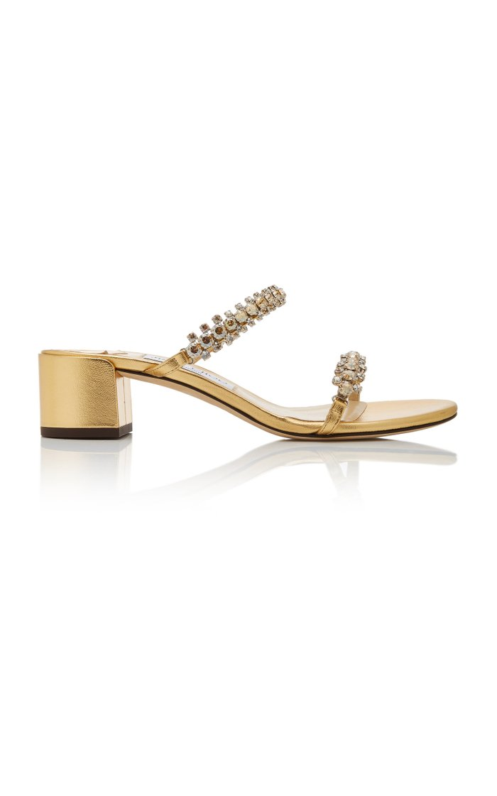 Shai Crystal-Embellished Metallic Leather Sandals