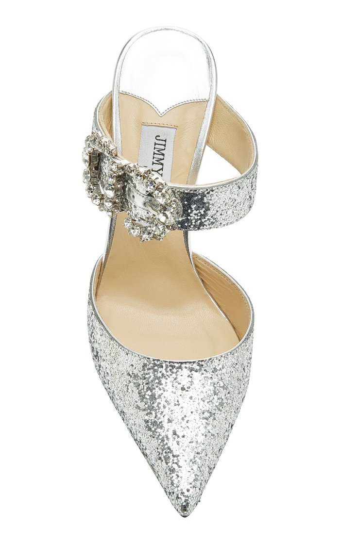 Smokey Crystal-Embellished Glittered Leather Mules