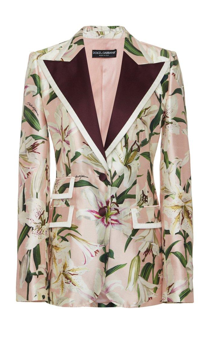 Floral-Print Silk-Blend Satin Blazer