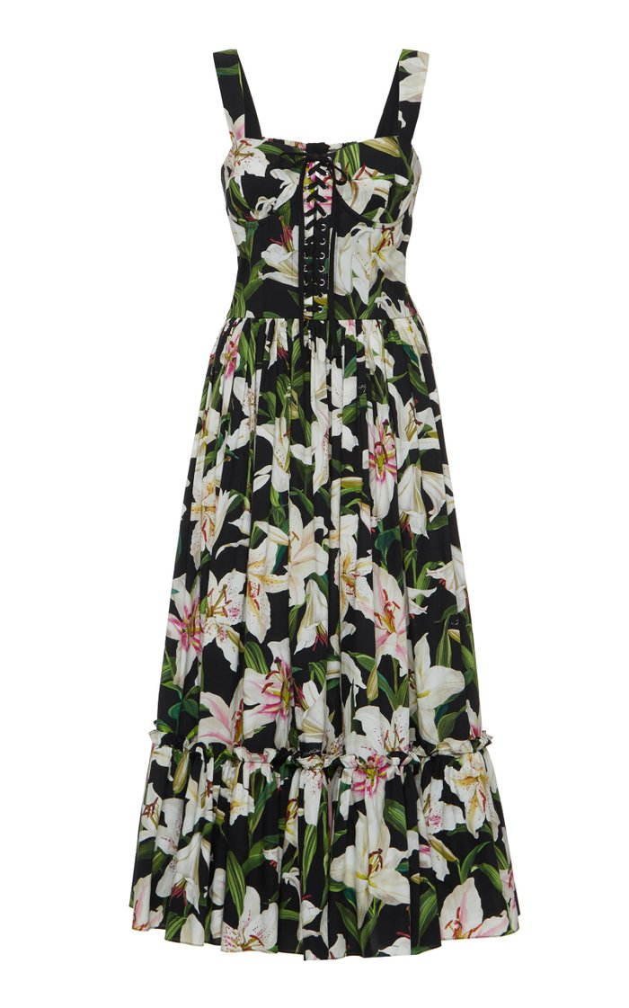 Lace-Up Floral-Print Cotton-Poplin Midi Dress