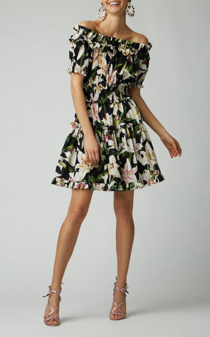 Off-The-Shoulder Floral-Print Cotton-Poplin Mini Dress