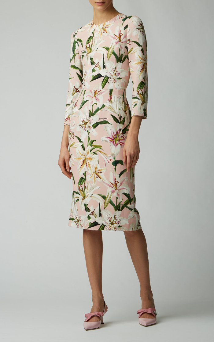Floral-Print Stretch-Crepe Midi Dress