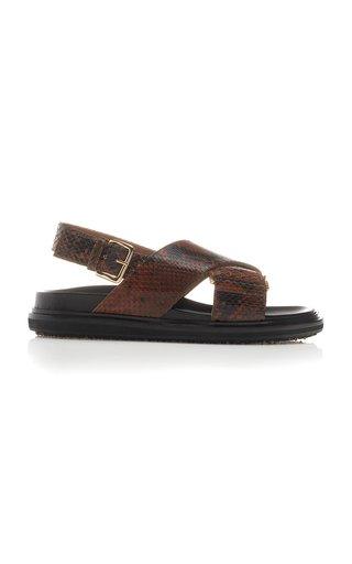 Fussbett Snake-Effect Leather Slingback Sandals