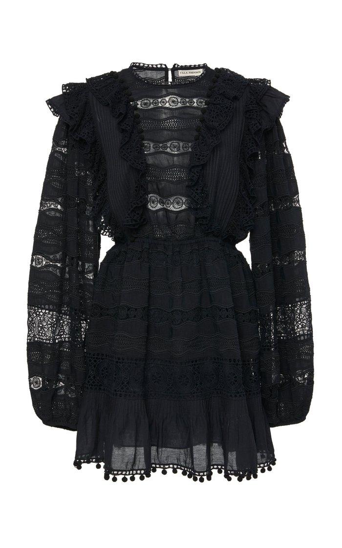 Jolie Ruffled Cotton-Blend Mini Dress