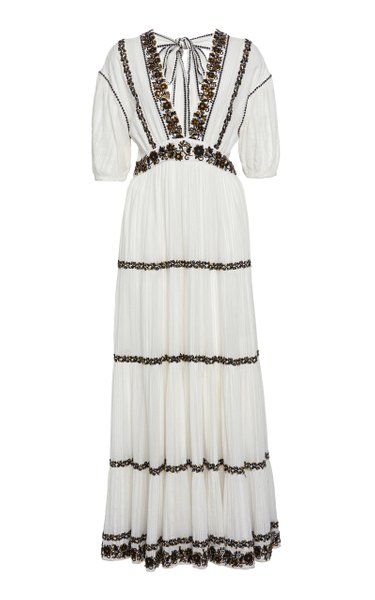 Alma Tiered Peasant Cotton Maxi Dress