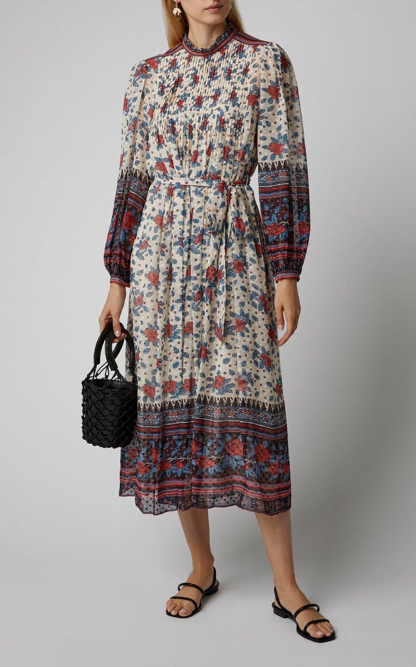 Prisma Smocked Silk-Blend Midi Dress by Ulla Johnson | Moda Operandi