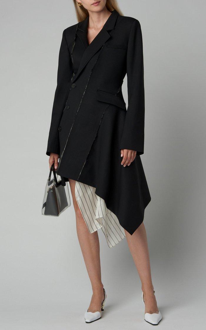 Deconstructed Slashed Wool-Blend Jacket Dress