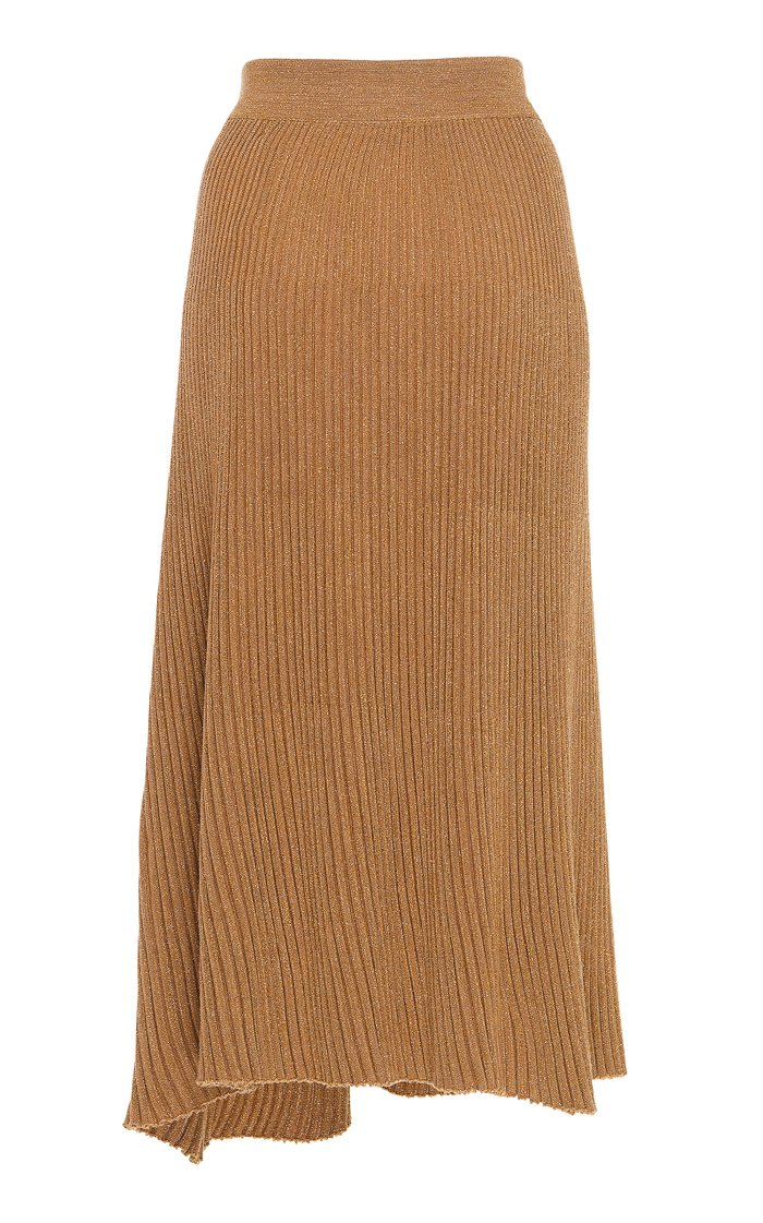 Metallic Ribbed Wool-Blend Midi Skirt