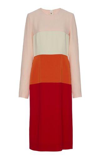 Twill Midi Dress With Contrasting Panels