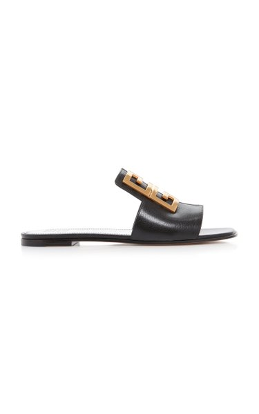 Gold-Tone Textured-Leather Sandals