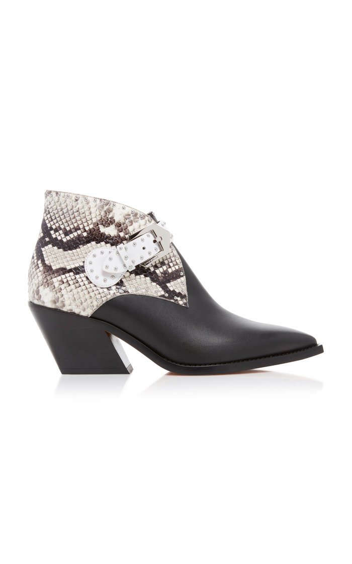 Snake-Effect Two-Tone Studded Leather Ankle Boots