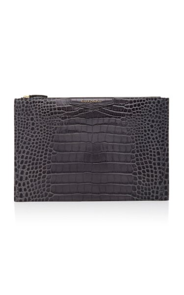Antigona Large Croc-Effect Leather Pouch