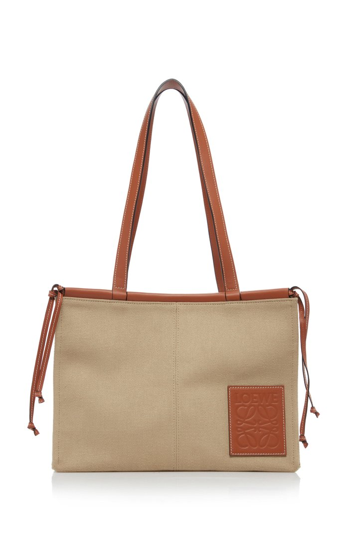 Cushion Leather-Trimmed Canvas Tote