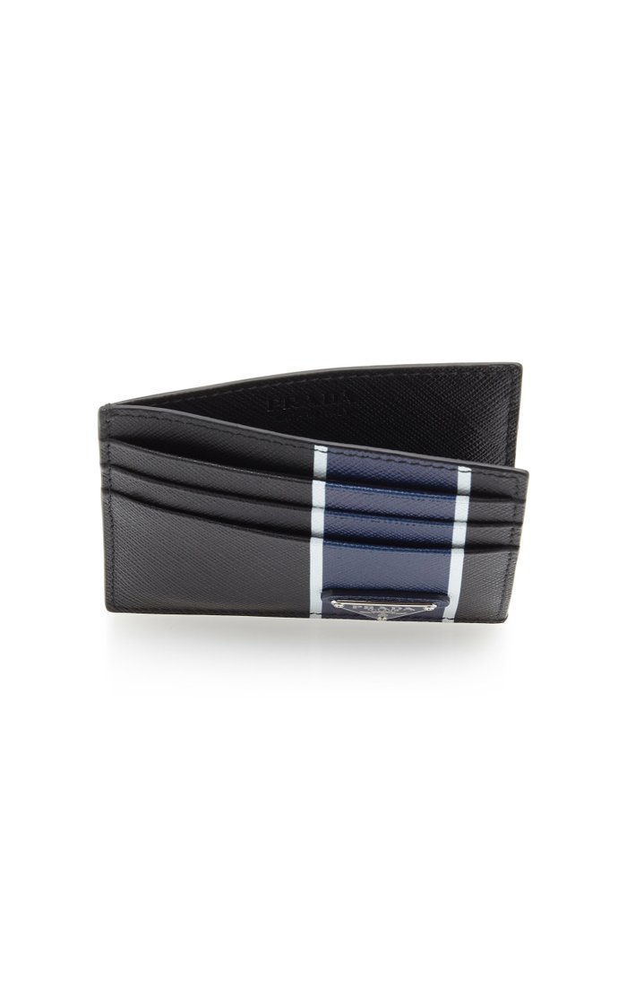 Striped Textured-Leather Card Case