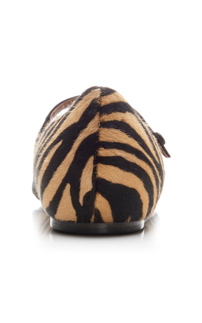 Hermione Zebra-Print Haircalf Flats