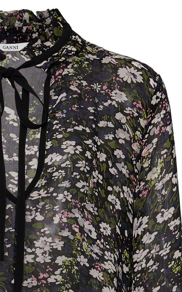 Tie-Neck Floral-Print Georgette Mini Dress