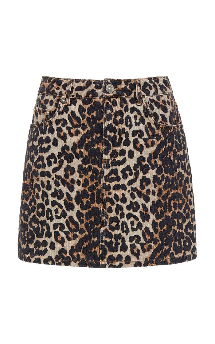 Leopard-Print Denim Mini Skirt