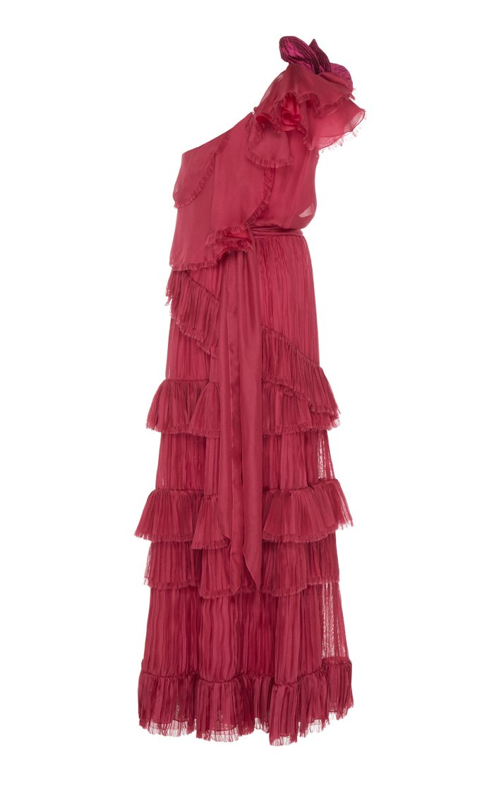God Of The Night Ruffled One-Shoulder Silk Gown