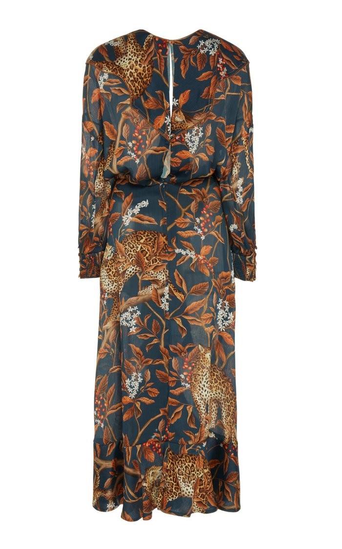 Running With The Jaguars Printed Satin Midi Dress