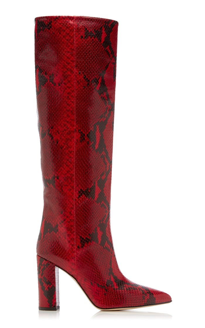 Snake-Effect Leather Knee Boots