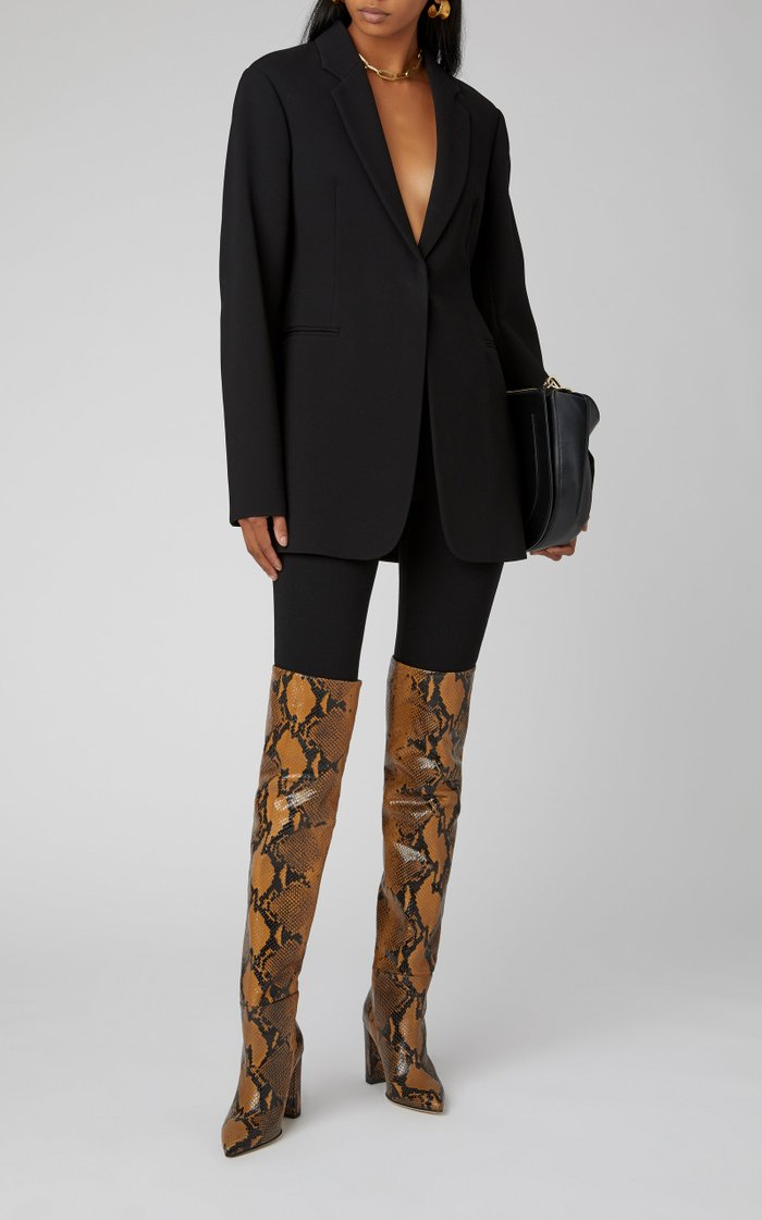 Snake-Effect Leather Over-The-Knee Boots
