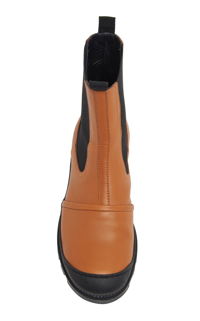 Rubber-Paneled Leather Chelsea Boots