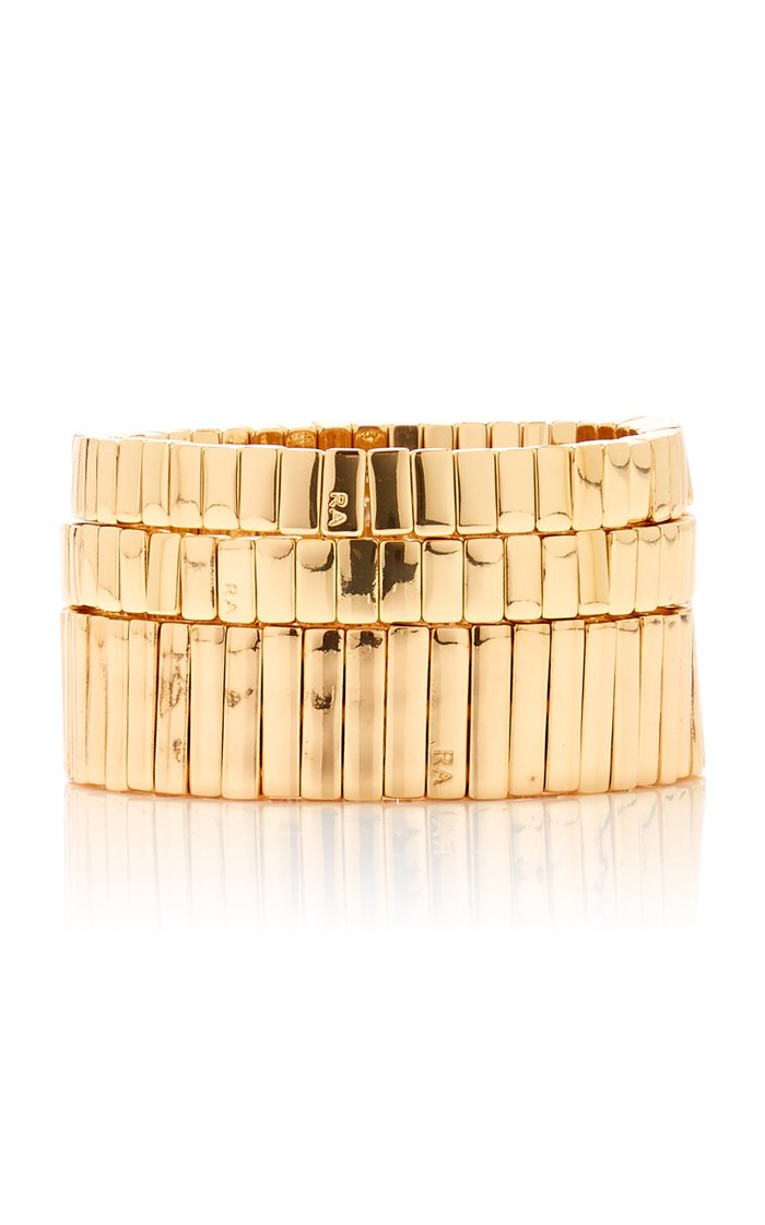Set-Of-Three Watch Band Gold-Plated Bracelets