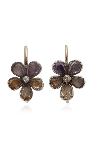 10K Gold Diamond and Glass Earrings