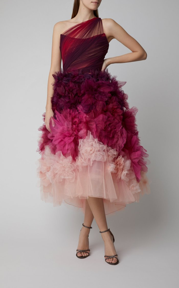 One-Shoulder Ombré Tulle and Organza Midi Dress