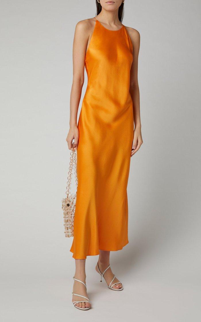 Cross Back Satin Slip Dress