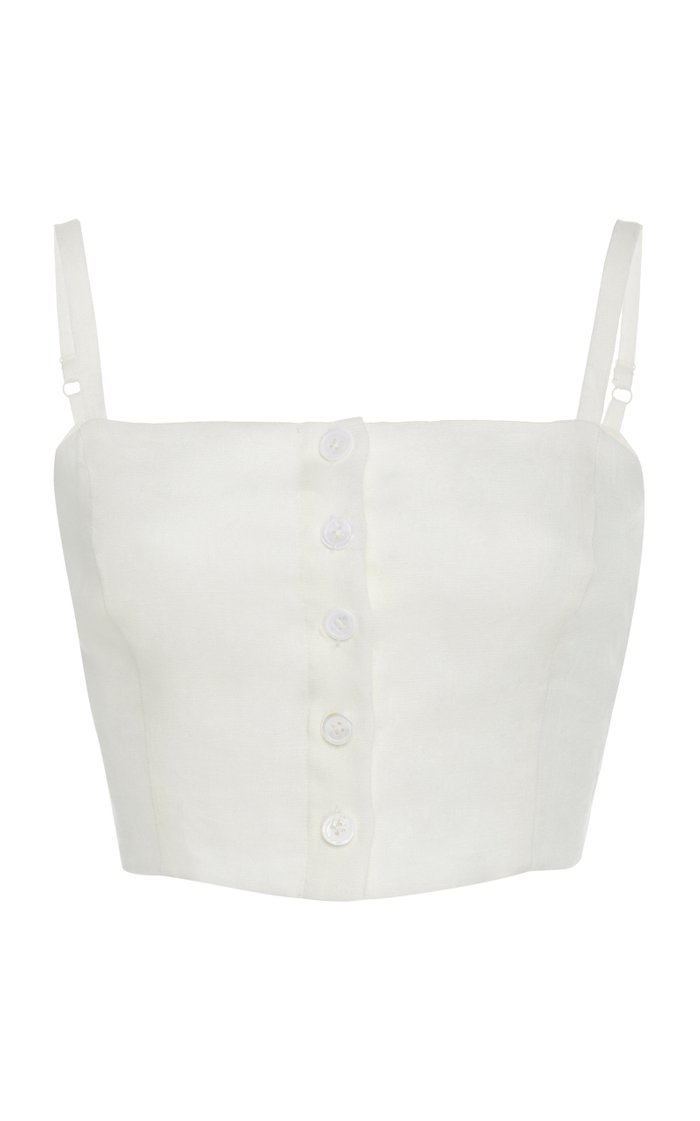 Pear Cropped Linen Top