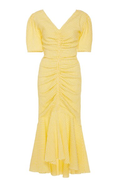 Panier Ruched Gingham Cotton-Blend Midi Dress
