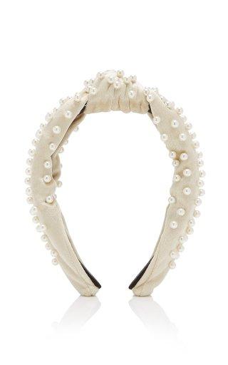 Pearl-Embellished Velvet Headband