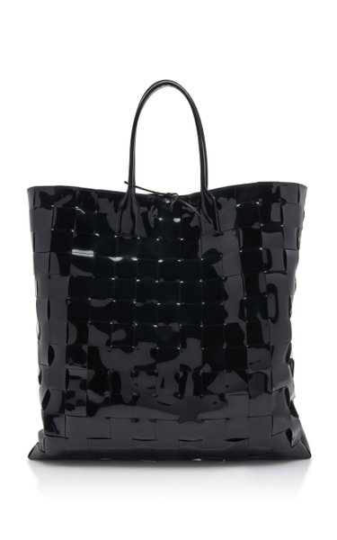 Woven Patent Leather Tote