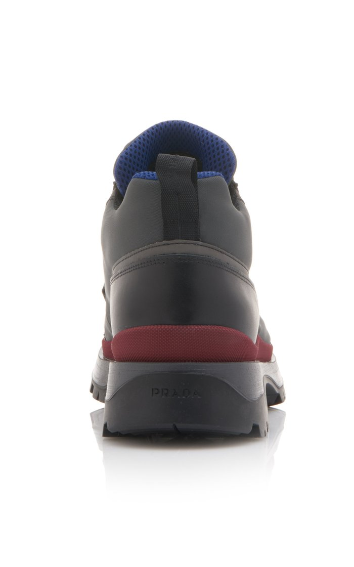 Leather-Trimmed Neoprene Sneakers