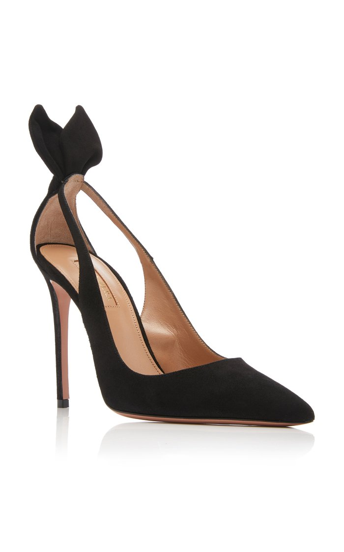 Bow Tie Cutout Embellished Suede Pumps