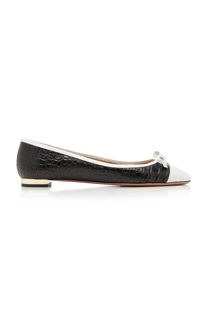 Moss Two-Tone Croc-Effect Leather Ballet Flats