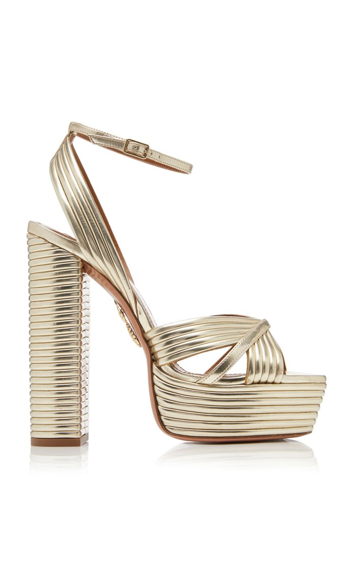 Sundance Plateau Metallic Leather Platform Sandals