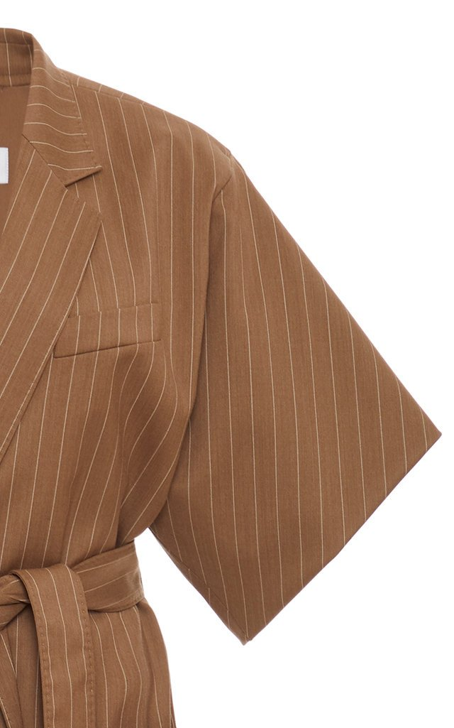 Feltro Pinstriped Belted Wool Jacket