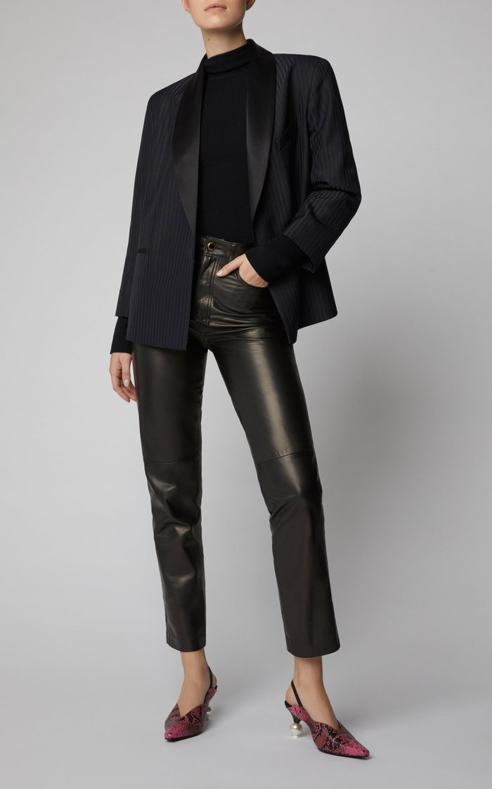 Doreen Snake-Effect Leather Slingback Pumps