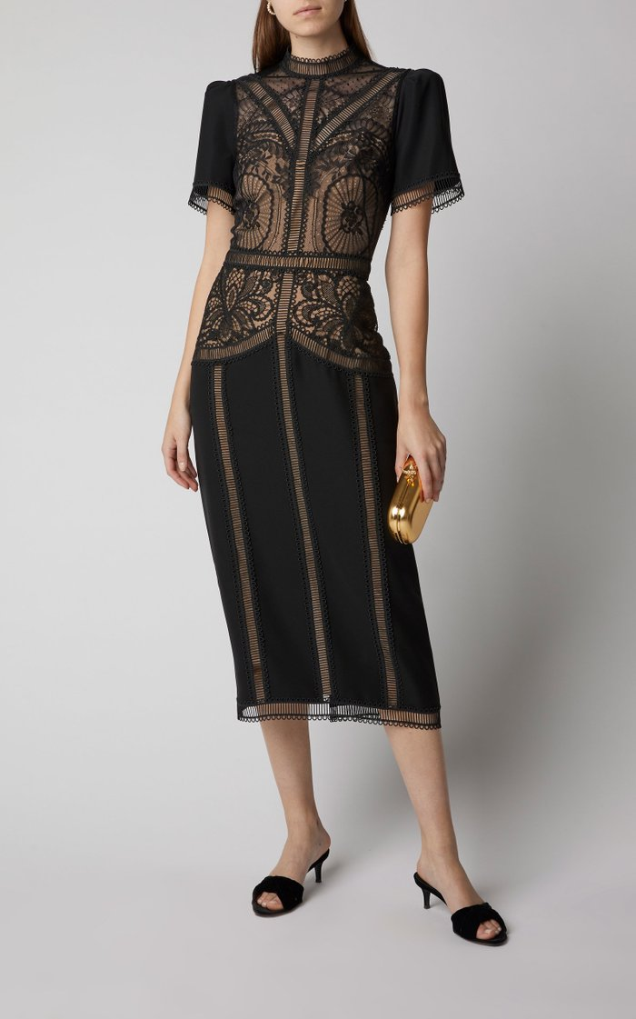 Enkei Embroidered Crepe and Silk Lace Midi Dress
